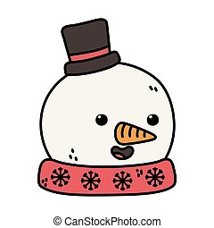 snowman with black hat and carrot nose decoration merry christmas vector illustration