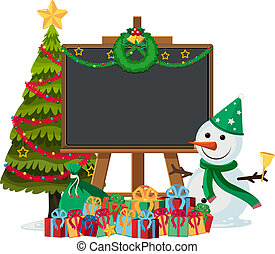 Snowman with blackboard frame