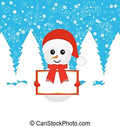 Snowman with blank banners in forest