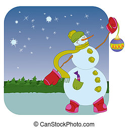Snowman with Christmas ball on winter background