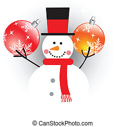 Snowman with christmas balls