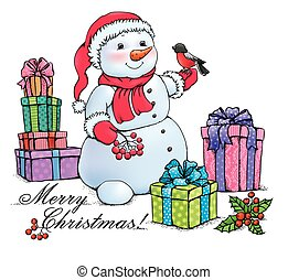 Snowman with Christmas