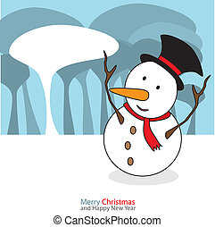 Snowman with christmas day on the night background Vector illustration.