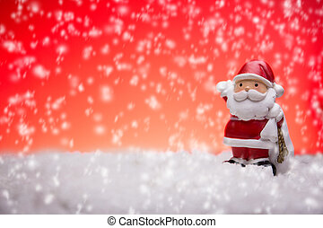 Snowman with Christmas light background and snow
