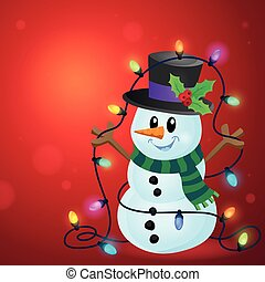 Snowman with Christmas lights image 3 - eps10 vector...
