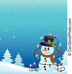 Snowman with Christmas lights image 4