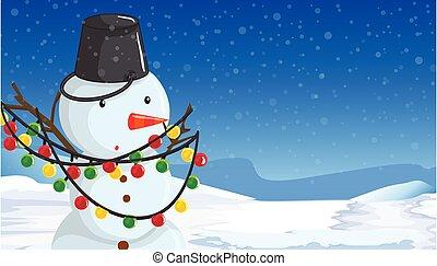 Snowman with christmas lights scene