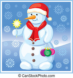 Snowman with Christmas toys