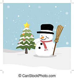 Snowman with Christmas tree
