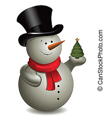 Snowman with Christmas tree. Vector