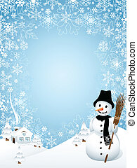 Vector illustration representing winter frame, composed of snowflakes, with smiling snowman and little cottage.