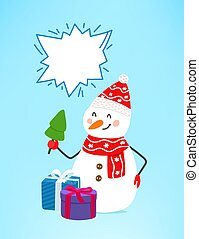 Snowman with gift boxes. Copy space for a text