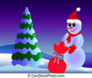 snowman with gift - The Snow-clad fir tree cost(stand)s near...