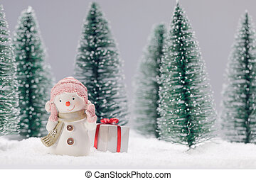 Snowman with gift in forest