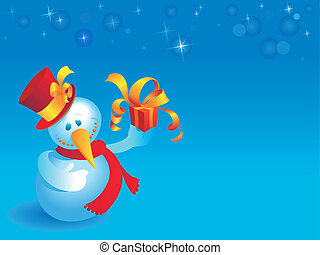 Snowman with gift on blue