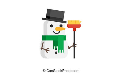 Snowman with green scarf Christmas character. Motion...