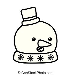 snowman with hat and carrot nose decoration merry christmas vector illustration line style