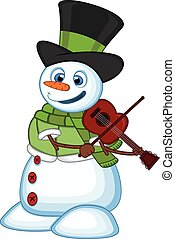 Snowman with hat, green sweater and