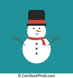 Snowman with hat, illustration, vector on white background.
