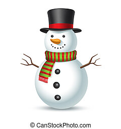 Snowman with hat isolated on white background.