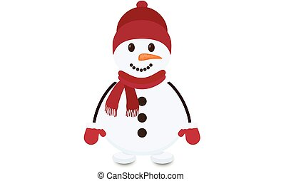 Snowman with hat, scarf and wool gloves