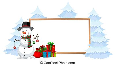 Snowman with holiday frame