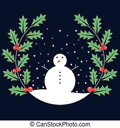 Snowman with mistletoe leaves