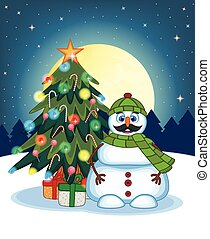 Snowman With Mustache Wearing Green