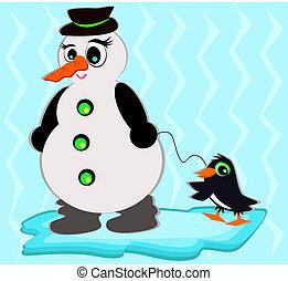 Snowman with Pet Penguin
