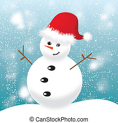 Snowman with red cap on blue background