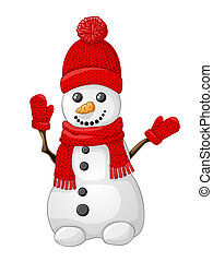 Snowman with red hat, scarf and glove isolated on white