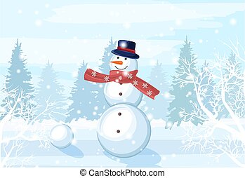 Snowman with red scarf, carrot nose and hat in the forest. Winter season vector