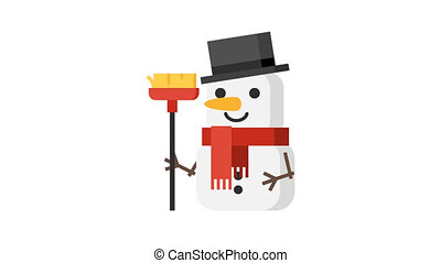 Snowman with red scarf Christmas character. Motion graphics....