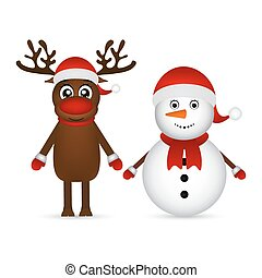 Snowman with reindeer standing on a white background