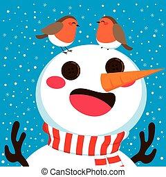 Snowman With Robin Birds