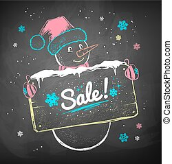Snowman with sale signboard.