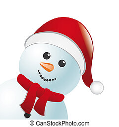 snowman with scarf and hat - snowman with scarf and santa...