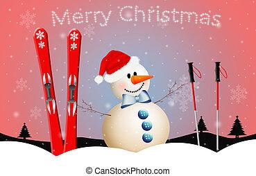 snowman with ski for Christmas