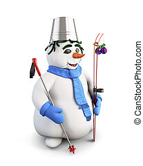 Snowman with skis. 3d.