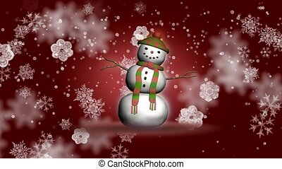 Snowman with snowflake background