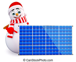 snowman with solar panels - 3d rendered illustration of...