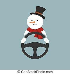 Snowman with steering wheel. Vector illustration. - Snowman...