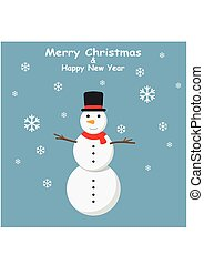 Snowman with top hat and Snowflakes on blue background