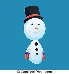 Snowman with top hat solated on white background. Winter theme. Vector character illustration