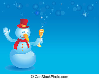 Snowman with wineglass on blue