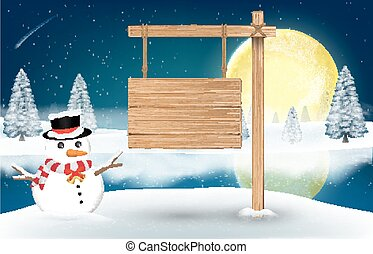snowman with wood board sign on night winter lake
