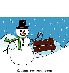 Snowman with wood sign or placard