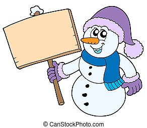 Snowman with wooden sign - isolated illustration.