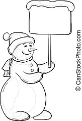 Snowman woman with sign, contours