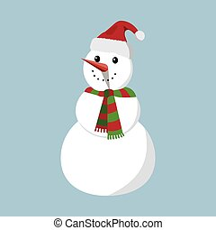 Snowman XMas icon. Cartoon style. Vector Illustration for Christmas day